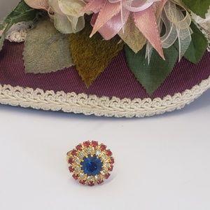 Vintage Crystal Costume Jewelry Adjustable Ring